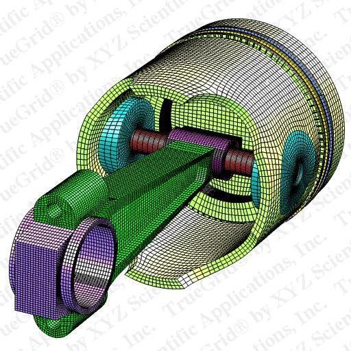 Truegrid finite element model of a rod piston high density for Finite elemente modell