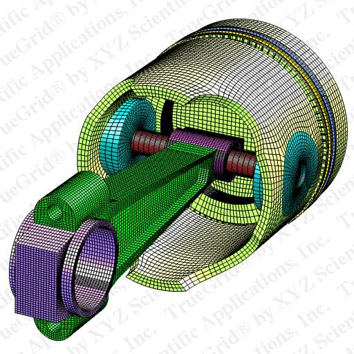 truegrid finite element model of a rod and piston high On finite elemente modell